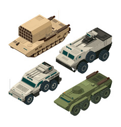 Isometric pictures of army heavy vehicles vector