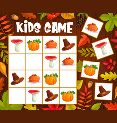 Kids sudoku game with thanksgiving autumn objects vector