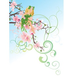 little green blond fairy vector image