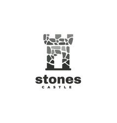 logo stone castle silhouette style vector image