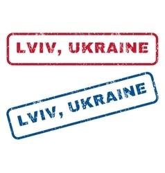Lviv ukraine rubber stamps vector