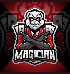 Magician panda esport mascot logo vector
