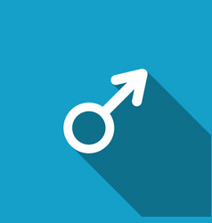 male gender symbol icon isolated with long shadow vector image