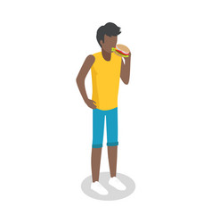 man eating hamburger isometric icon vector image