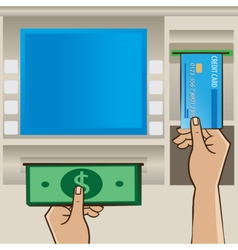 Man holding cash and credit card near ATM vector