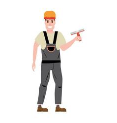 Master plastering wall plasterer profession vector