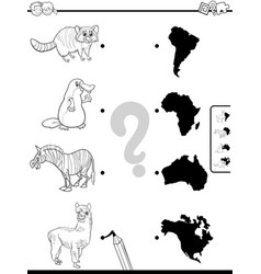 Match animals and continents task color book vector