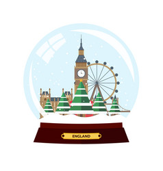 Merry christmas and happy new year snow globe vector