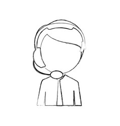 monochrome sketch of half body man of call center vector image