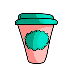 morning hot coffee plastic cup on road to work vector image