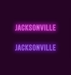 Neon name of jacksonville city in usa text vector