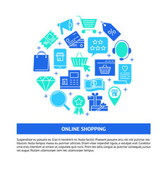 Online shopping round concept banner in flat style vector