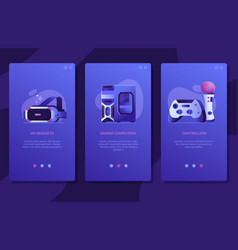online vr gaming ui screens templates design vector image