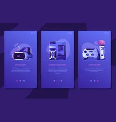 Online vr gaming ui screens templates design vector