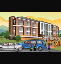 Parents picking up kids from school vector