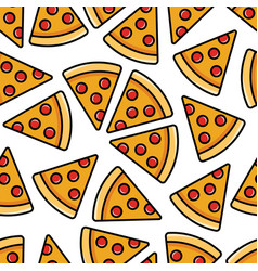 Pepperoni pizza seamless pattern vector