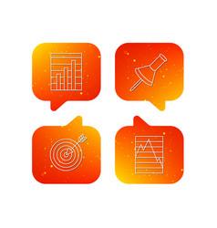 pushpin graph charts and target icons vector image