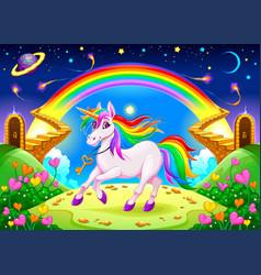 Rainbow unicorn in a fantasy landscape vector