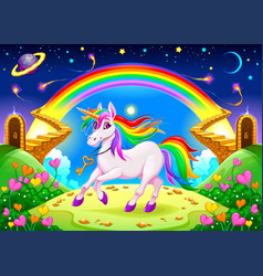 Rainbow unicorn in a fantasy landscape with vector