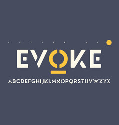 Sans serif urban stencil rounded letter set vector