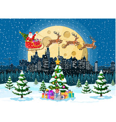 Santa claus rides reindeer sleigh vector