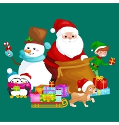 Santa Claus sack full of gifts snowman candy vector image