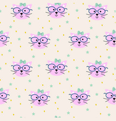 seamless pattern with cats heads fashion vector image