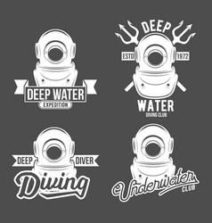 set diving vintage labels and logos vector image