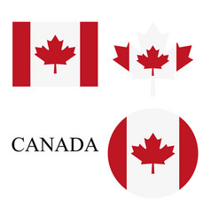 set icon canadian flag on a white background vector image