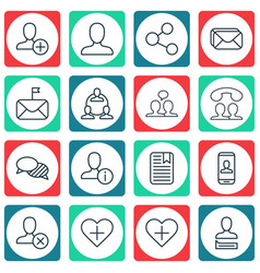 Set of 16 social network icons includes ban vector
