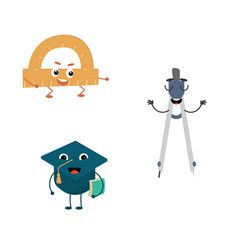 set of funny characters from pair compasses vector image
