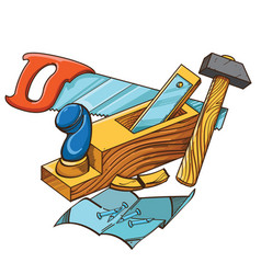 Set of hammer plane saw nails vector