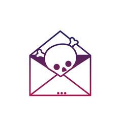 Silhouette e-mail letter message with danger skull vector
