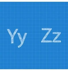 Sketched letters Y Z on blueprint background vector