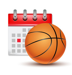 Sport calendar and basketball realistic vector