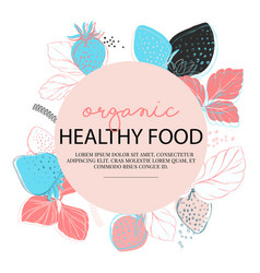 strawberries organic food set berry with vector image