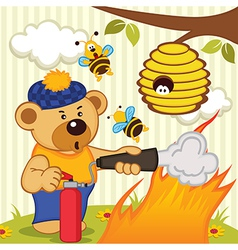 Teddy bear extinguishes fire vector