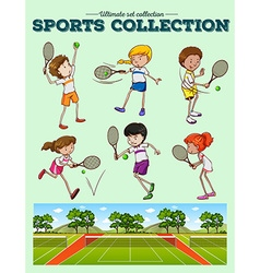 Tennis players and tennis courts vector image