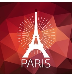 the eiffel tower label or logo over geometric vector image