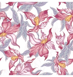 Tropical Seamless Background with Exotic Flowers vector