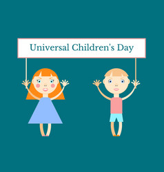 Universal childrens day girl and boy holding a vector