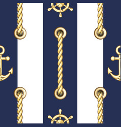 vertical straped ropes with golden metal eyelets vector image