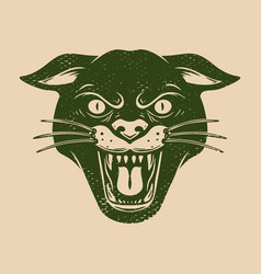 vintage head wild cat on grunge background vector image