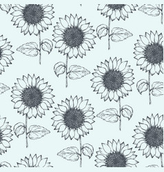 vintage pattern with outline pen sunflowers vector image