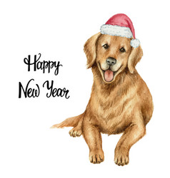 Watercolor retriever in santa claus hat vector
