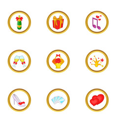 Wedding icons set cartoon style vector