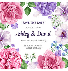 Wedding invitation card with flowers in watercolor vector
