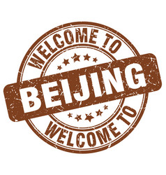 Welcome to beijing brown round vintage stamp vector