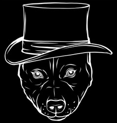 White silhouette pitbull dog with hat on black vector