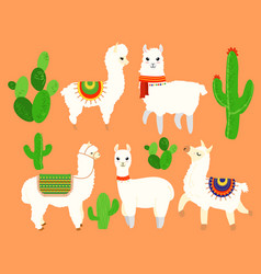 colorful set of funny and cute lamas vector image vector image